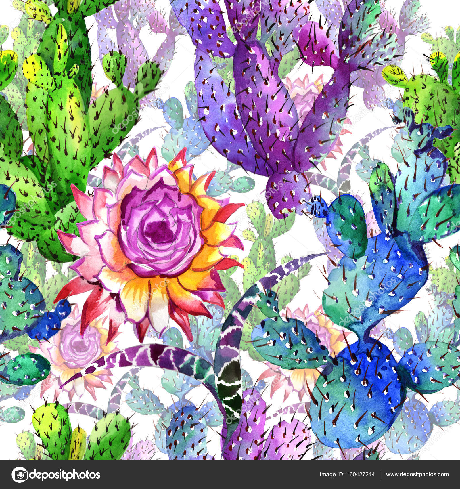 Wildflower cactus flower pattern in a watercolor style. — Stock ...