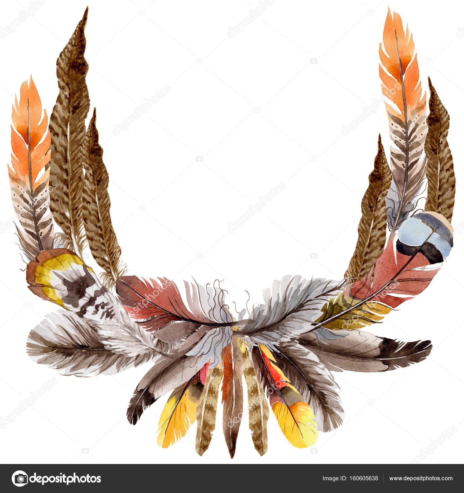 Guirnalda de plumas de aves Acuarela del ala — Foto de stock ...