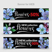 Wildflower cherry flowers promo sale banner template in a watercolor style isolated.