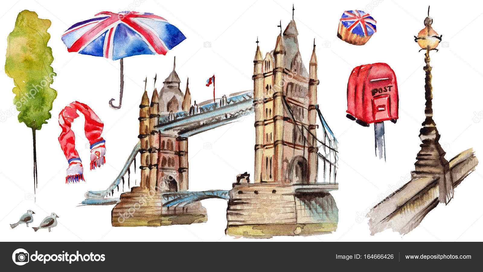 watercolor london illustration great britain hand drawn symbols