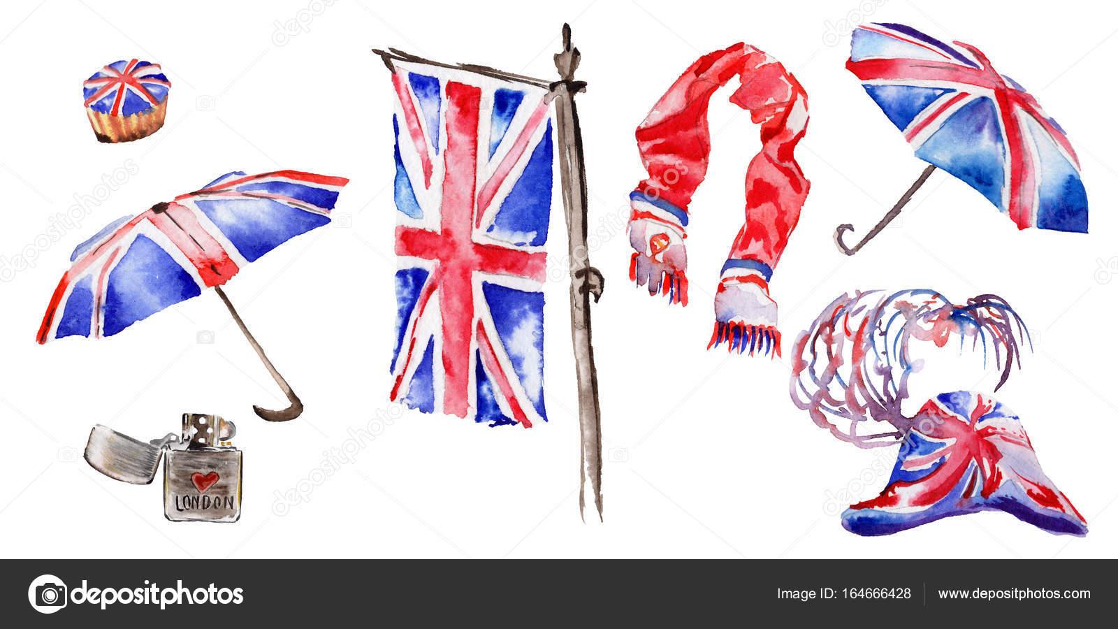 Watercolor London Illustration Great Britain Hand Drawn Symbols Red Phone Booth Big Ben Clock Flag Of Tower Bridge