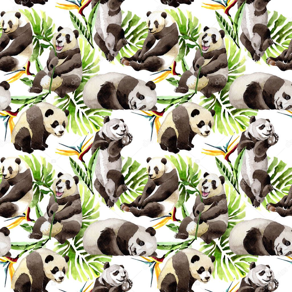 Panda wild animal pattern in a watercolor style.