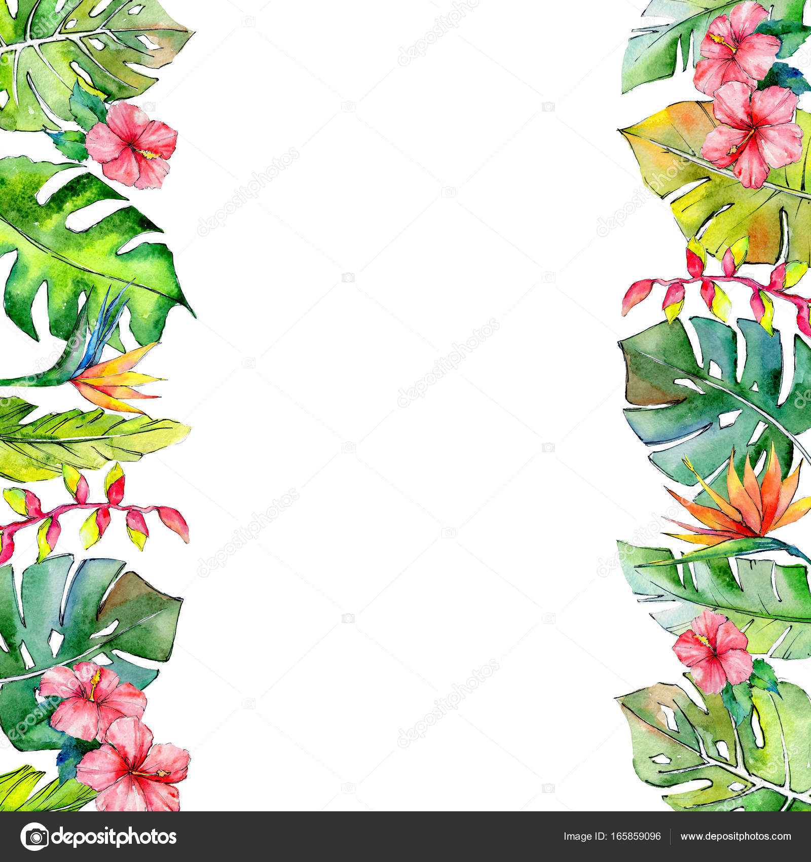 Tropical Hawaii leaves frame in a watercolor style. — Stock Photo ...