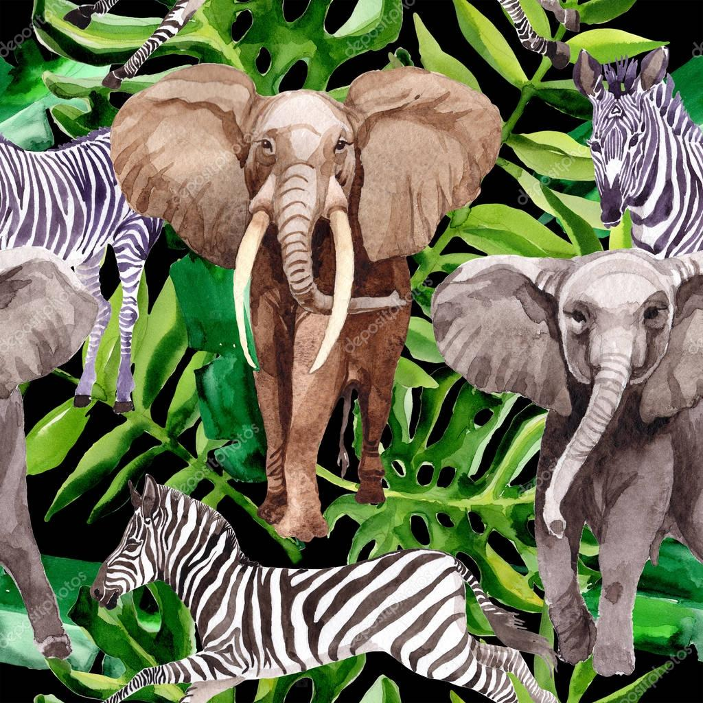 Exotic zebra and elephant wild animals pattern in a watercolor style.