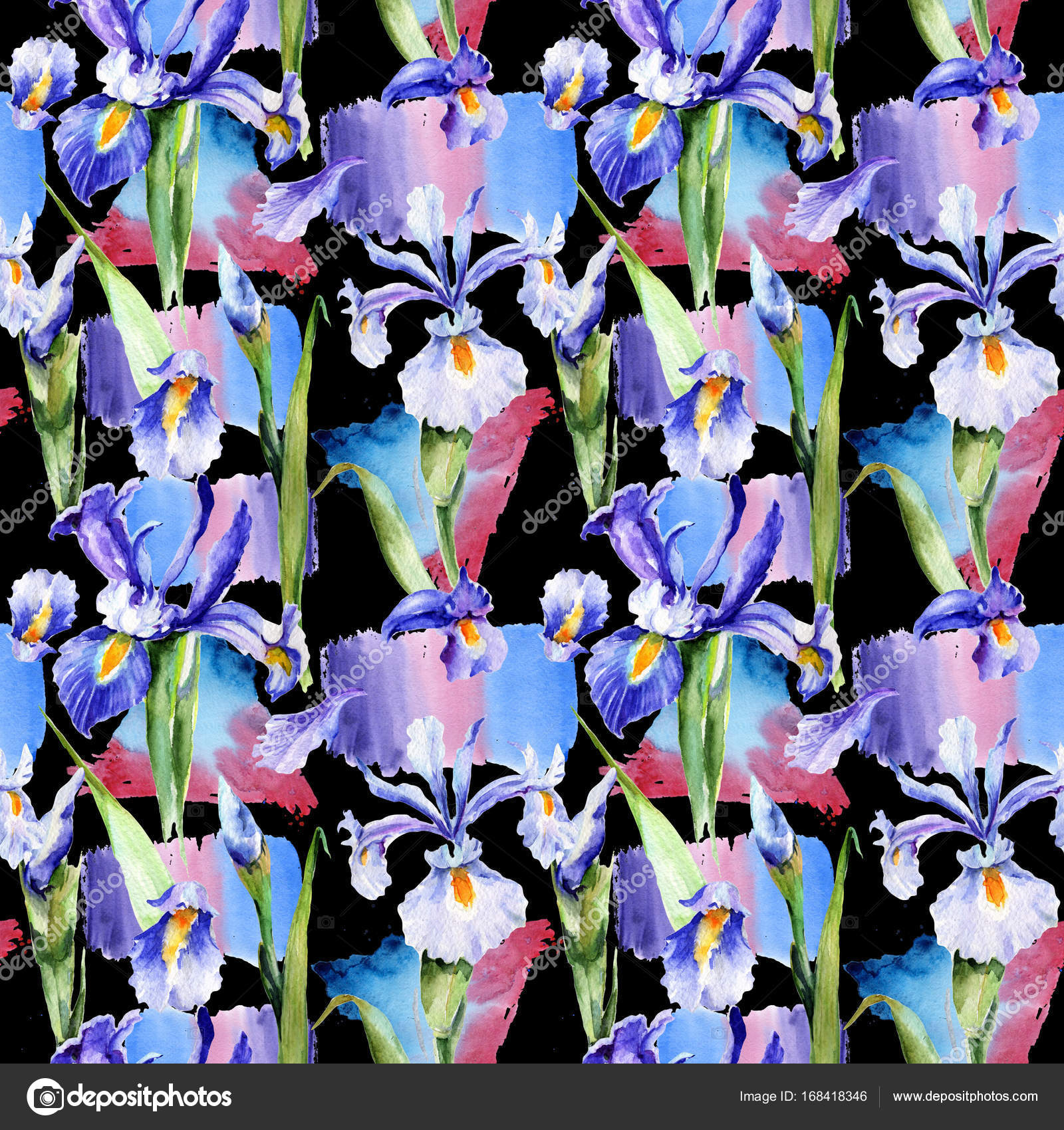 Wildflower Iris Flower Pattern In A Watercolor Style Stock Photo