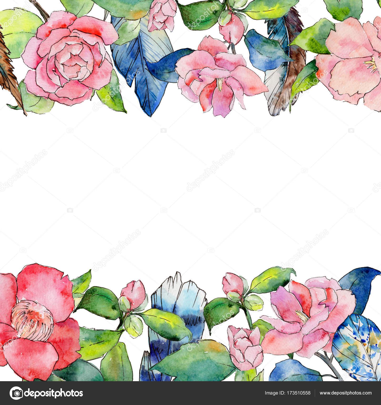 Marco de flor de Camelia flores silvestres en un estilo acuarela ...