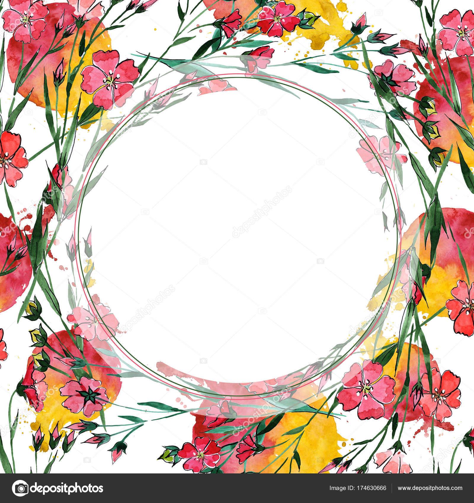 Trame De Lin Fleur Fleurs Sauvages Dans Un Style Aquarelle
