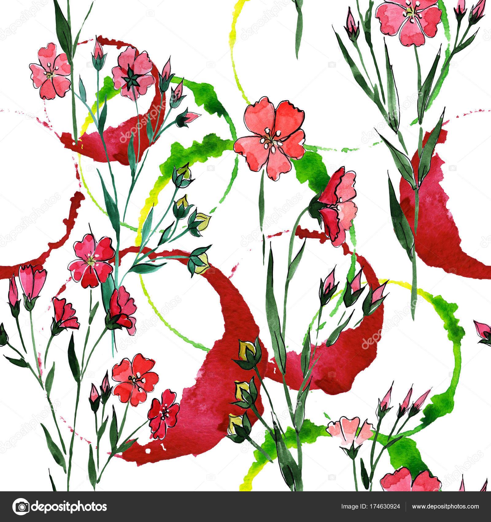 Modele De Fleur Lin De Fleurs Sauvages Dans Un Style Aquarelle