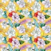 Wildflower gardenia flower pattern in a watercolor style.