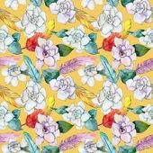 Wildflower gardenia květinový vzor ve stylu akvarelu