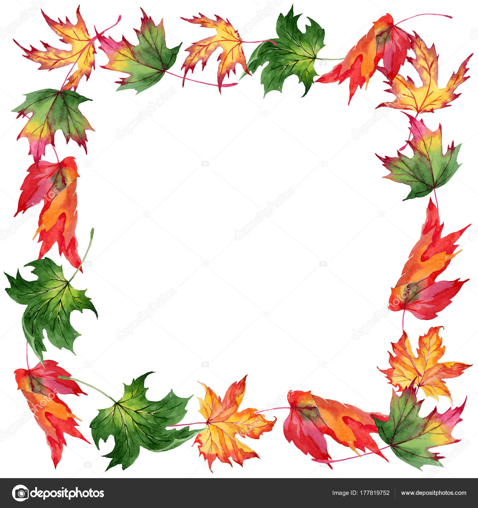 Maple leaves frame in a watercolor style. — Stock Photo © MyStocks ...