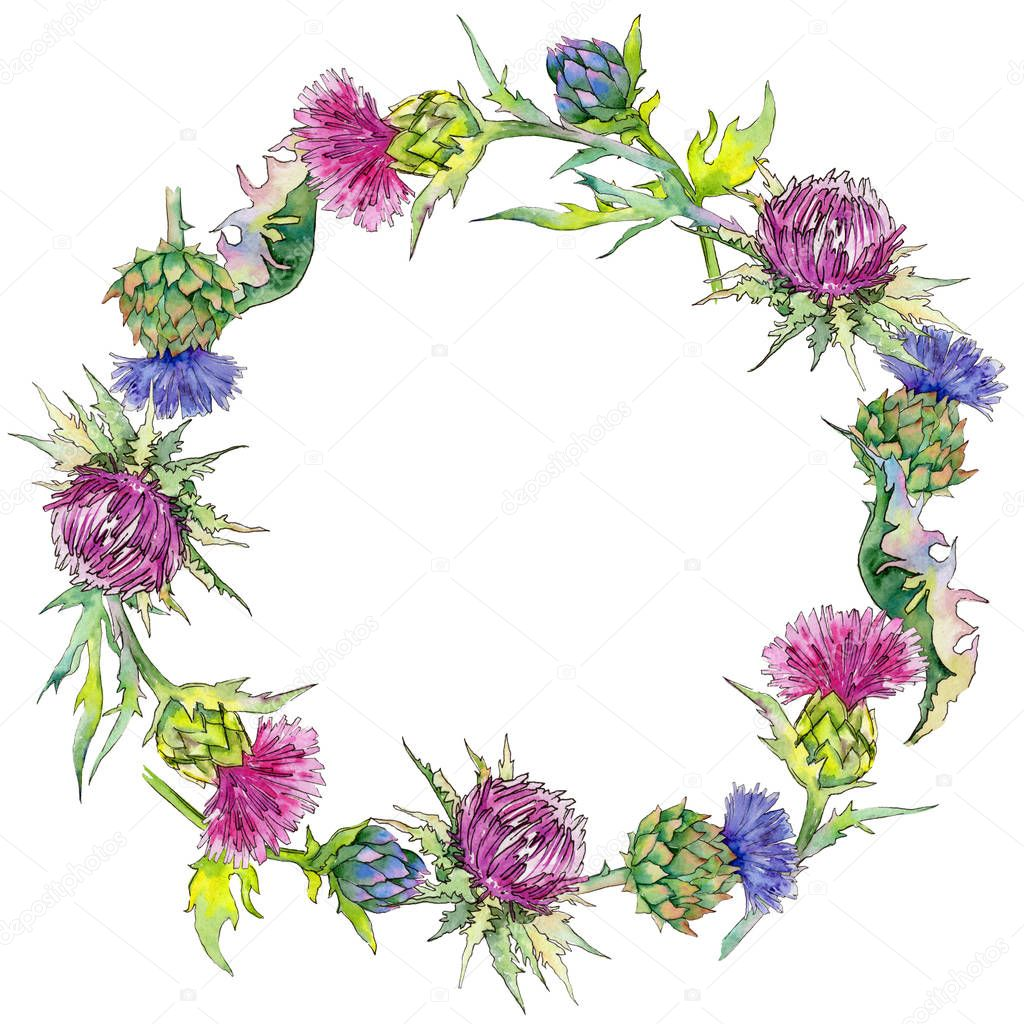 Wildflower thistle flower wreath in a watercolor style.