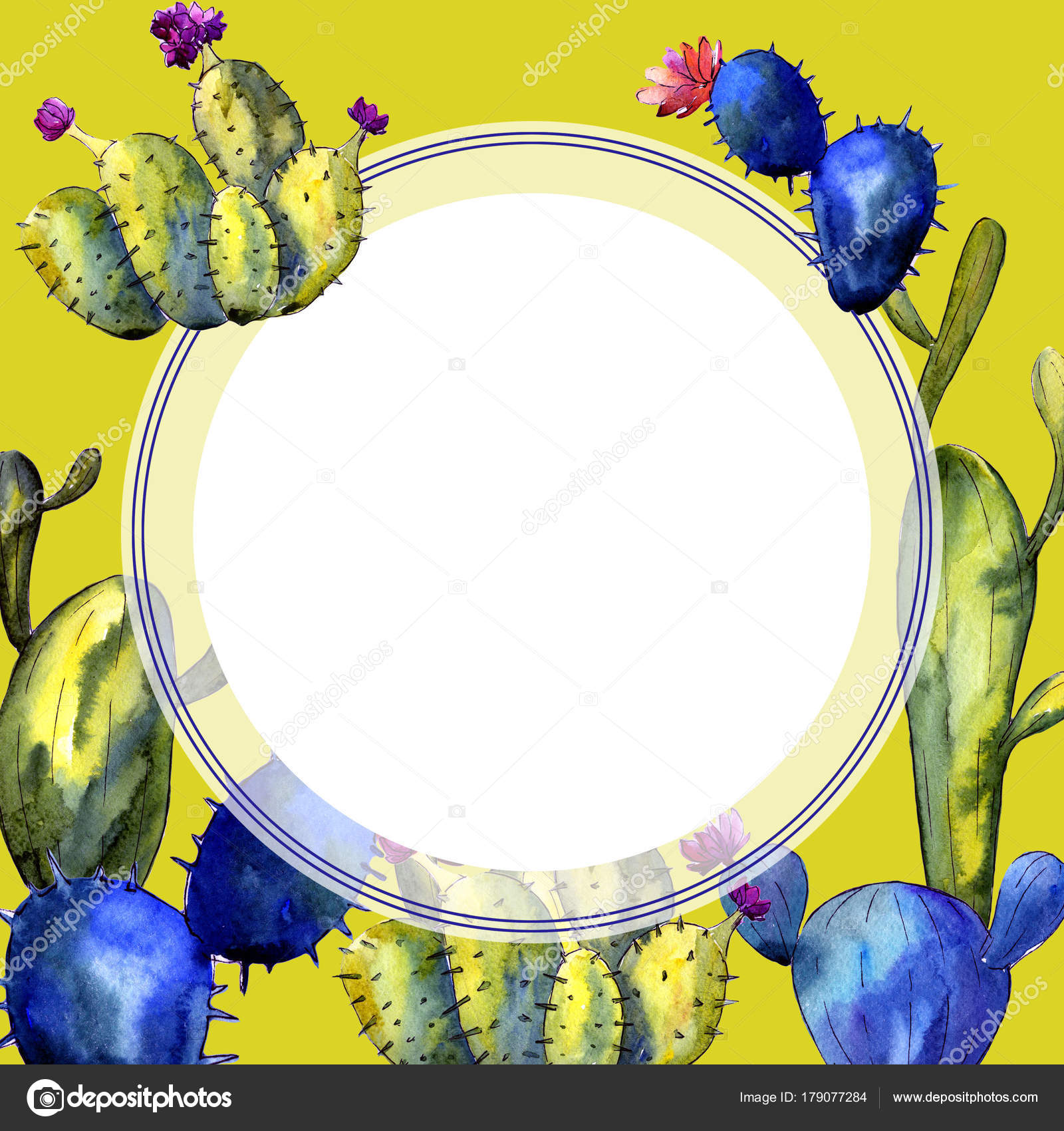 Wildflower cactus frame in a watercolor style. — Stock Photo ...
