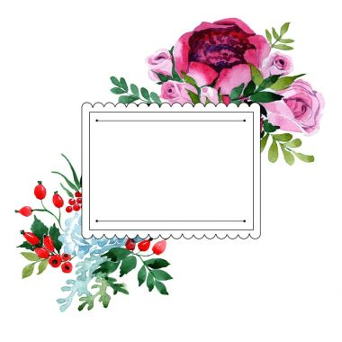 Bouquet flower frame in a watercolor style.
