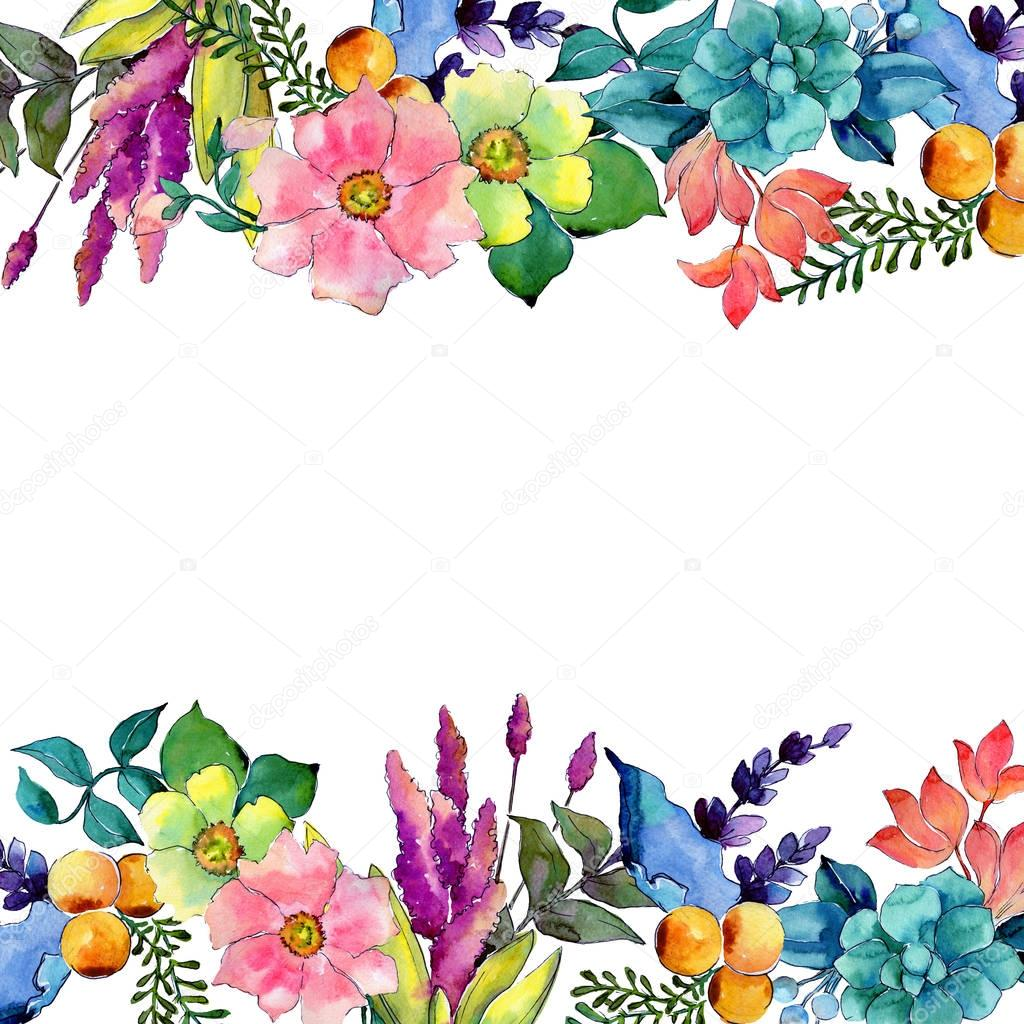 Tropical flower frame in a watercolor style.