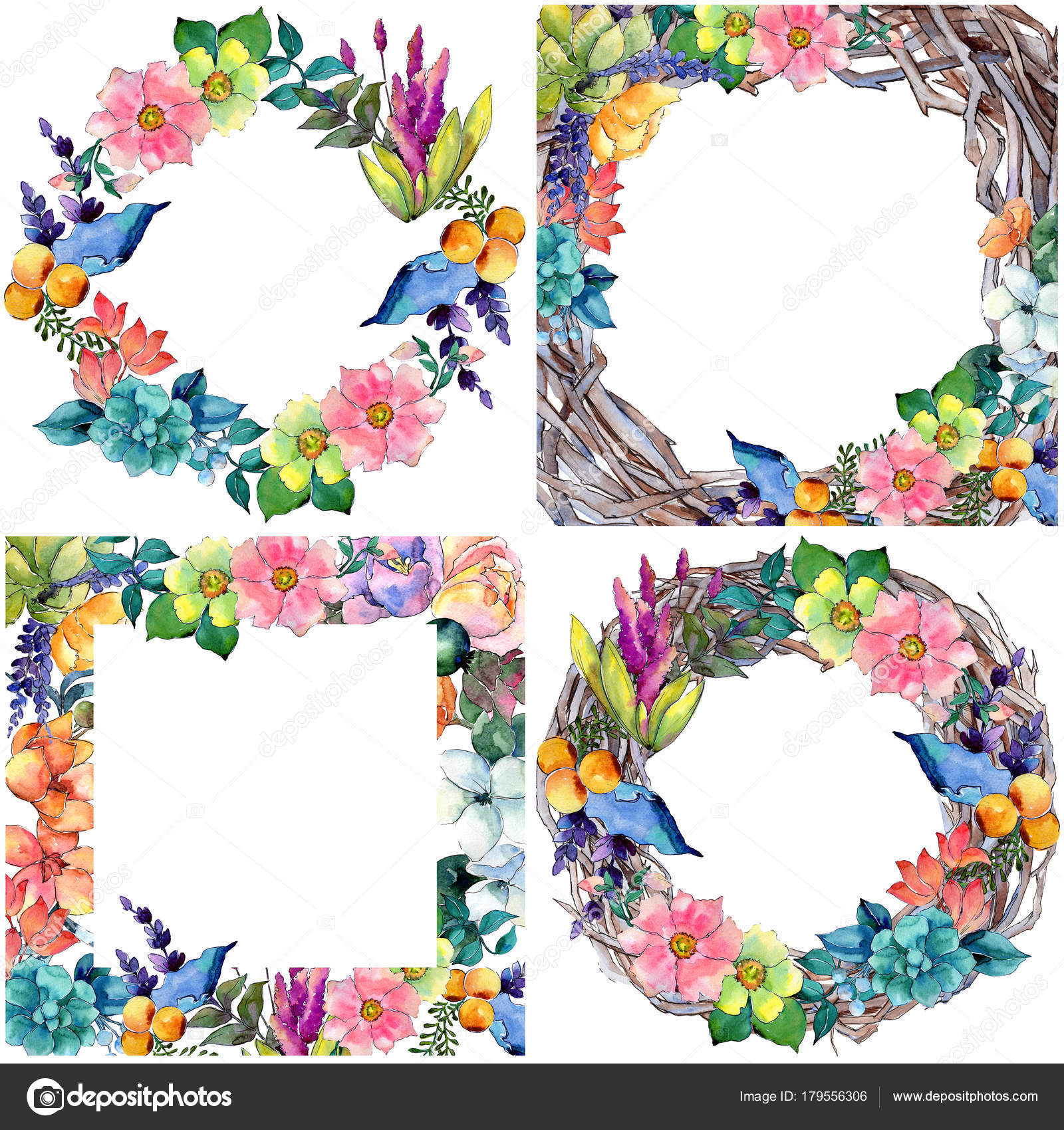 Tropical flower frame in a watercolor style. — Stock Photo ...