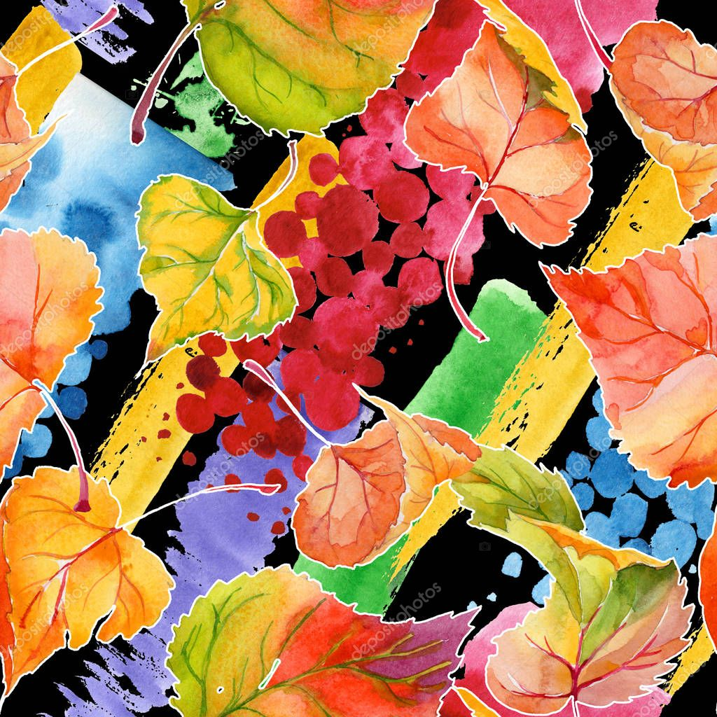 Autumn leaf of poplar pattern in a hand-drawn watercolor style.