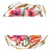 Fotografie Wildflower spica wreath in a watercolor style.