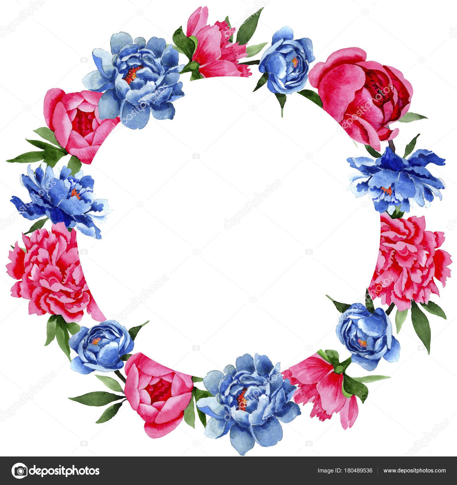 Wildflower red and blue peonies flowers wreath in a watercolor style wildflower red and blue peonies flowers wreath in a watercolor style stock photo izmirmasajfo