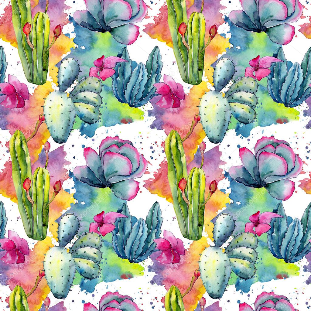 Exotic wildflower cactus pattern in a watercolor style.