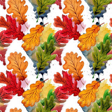 Autumn leaf of oak pattern in a hand drawn watercolor style.