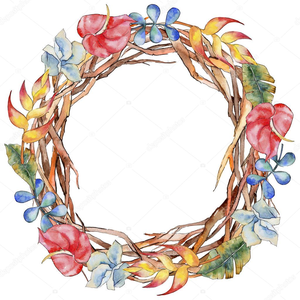 Forest twig branches wreath in a hand drawn watercolor style.