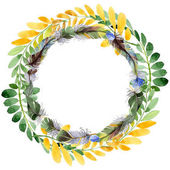 Fotografie Autumn leaf of acacia wreath in a hand drawn watercolor style.
