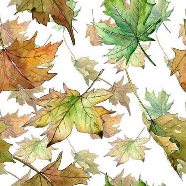 Maple leaves pattern in a watercolor style.