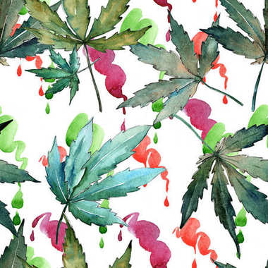 Cannabis leaves pattern in a watercolor style.