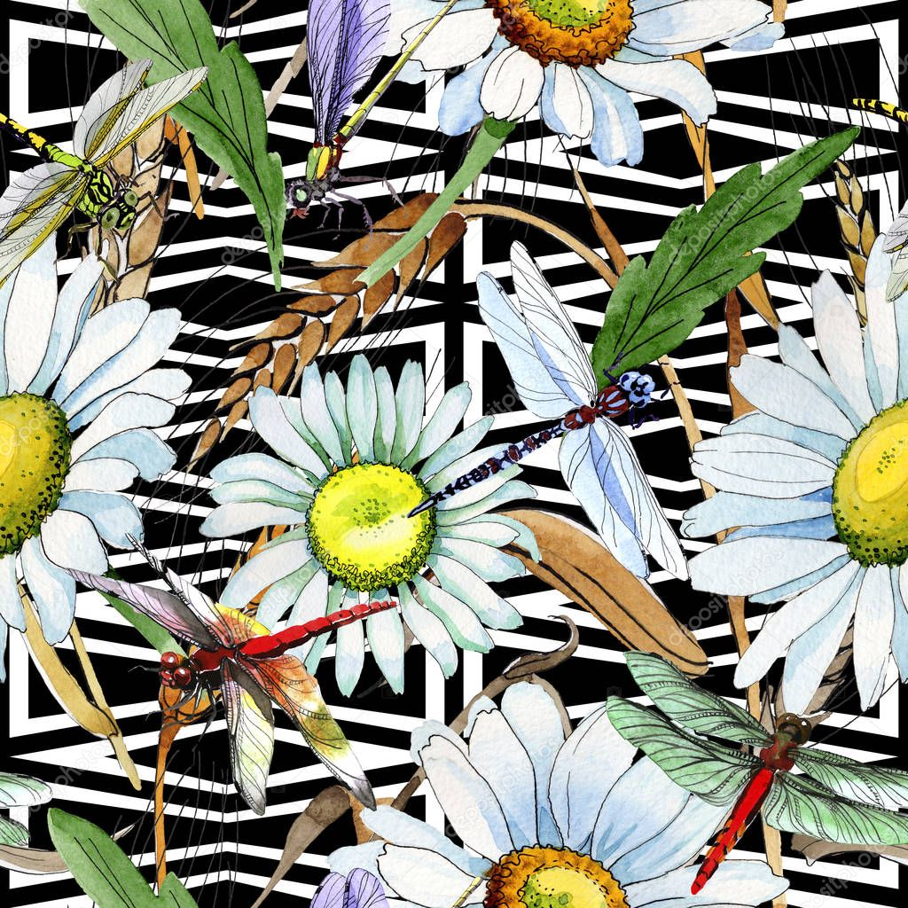 Wildflower chamomile flower pattern in a watercolor style.