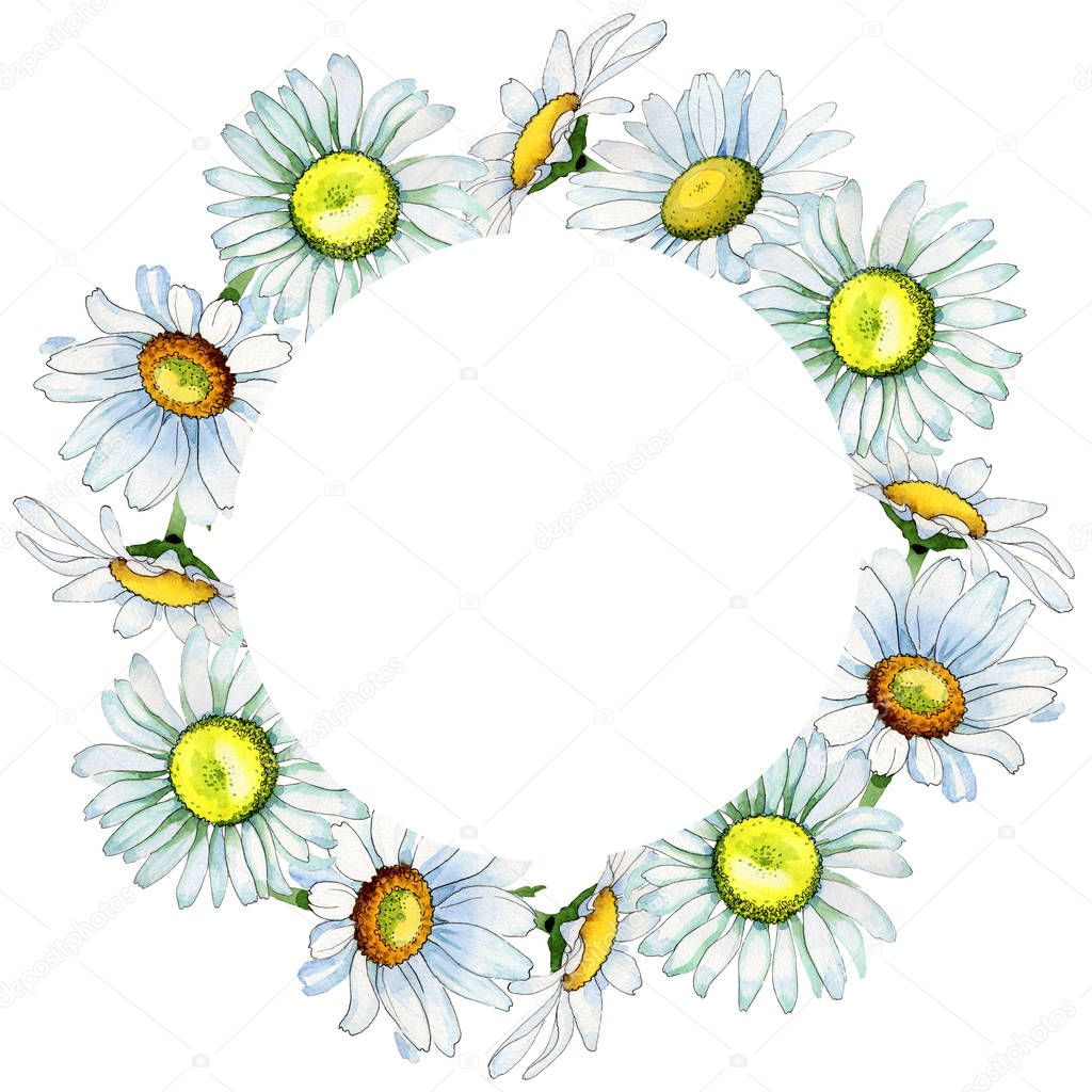 Wildflower chamomile flower wreath in a watercolor style.