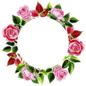 Fotografie Leaves of rose wreath in a watercolor style.