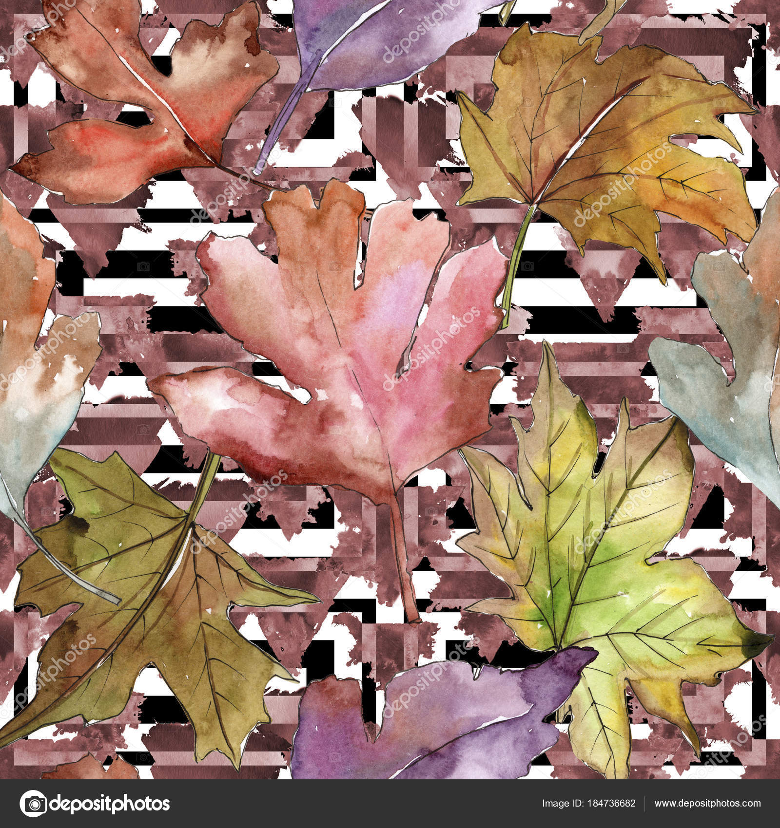 Leaves of hawthorn pattern in a watercolor style. — Stock Photo ...