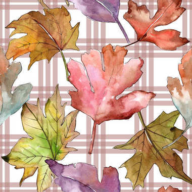 Leaves of hawthorn pattern in a watercolor style.