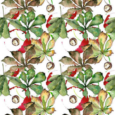 Chestnut leaves pattern in a watercolor style.