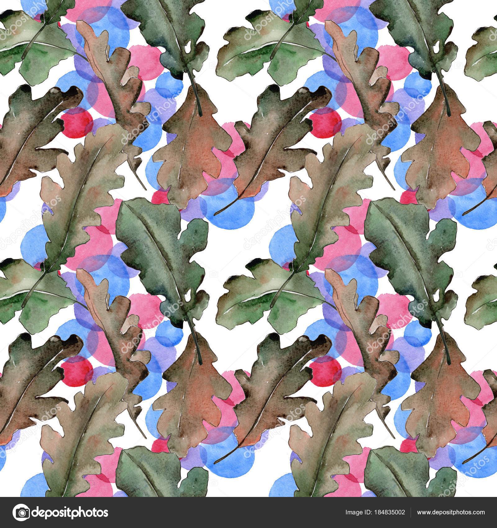 oak leaves pattern in a watercolor style stock photo mystocks