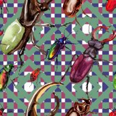 Photo Exotic beetles wild insect pattern in a watercolor style.
