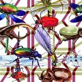 Egzotikus bogarak vadon élő rovarok minta akvarell stílusú
