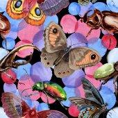 Fotografia Reticolo di insetto selvaggio di coleotteri esotici in stile acquerello