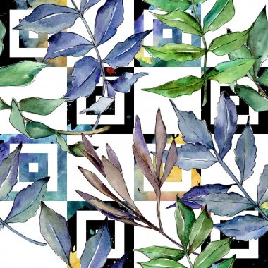 Ash leaves pattern in a watercolor style. Aquarelle leaf for background, texture, wrapper pattern, frame or border. stock vector