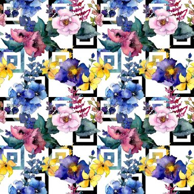 Bouquet flower pattern in a watercolor style. Full name of the plant: rose. Aquarelle wild flower for background, texture, wrapper pattern, frame or border. stock vector