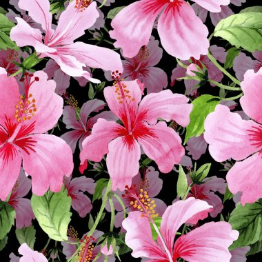 Wildflower hibiscus pink flower pattern in a watercolor style.