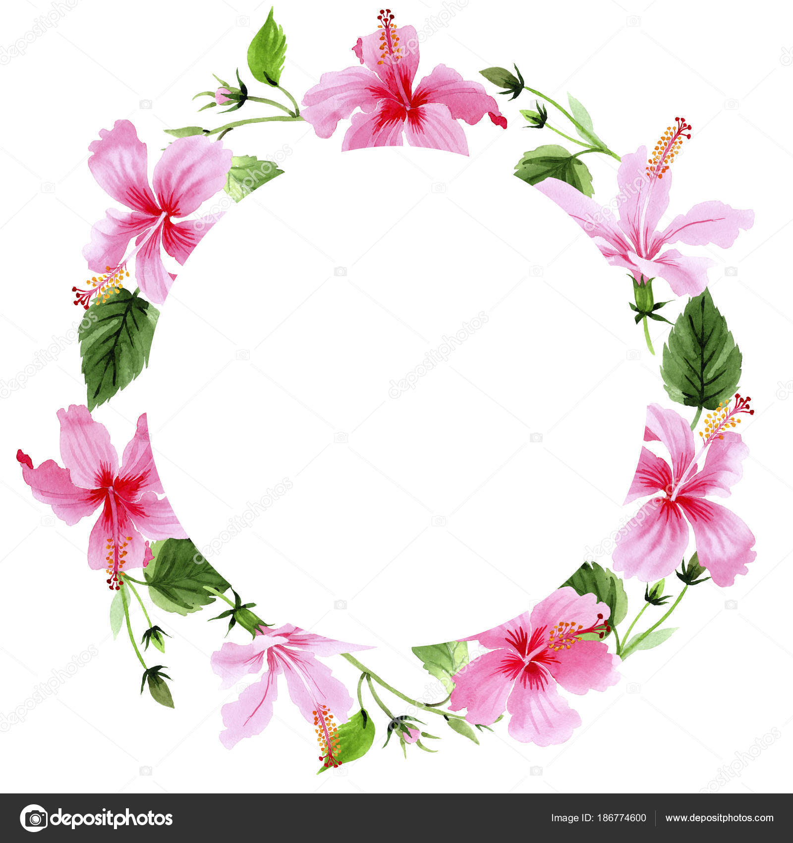 Wildflower Hibiscus Pink Flower Wreath In A Watercolor Style