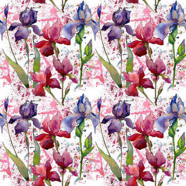 Wildflower iris flower pattern in a watercolor style. Full name of the plant:  iris. Aquarelle wild flower for background, texture, wrapper pattern, frame or border. stock vector