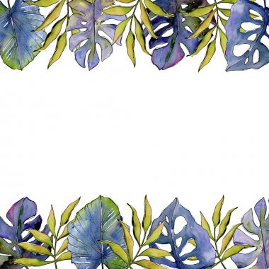 Tropical leaves frame in a watercolor style.