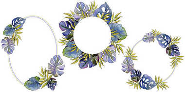 Tropical leaves wreath in a watercolor style.