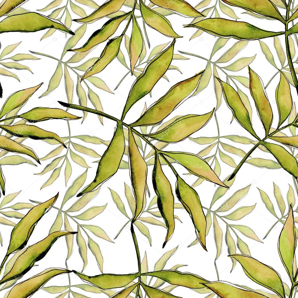 Tropical leaves pattern in a watercolor style.