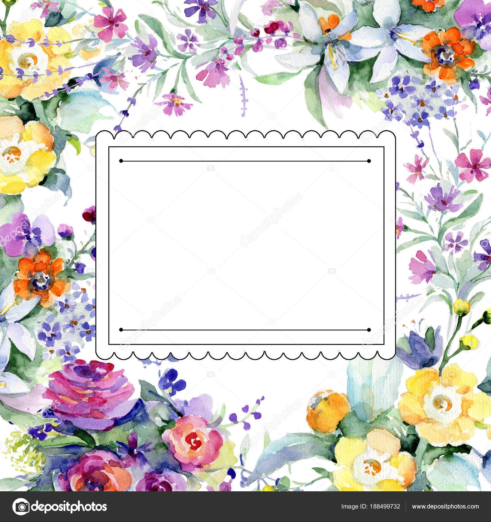 Blumenstrauß Blumenrahmen im Aquarell-Stil — Stockfoto © MyStocks ...