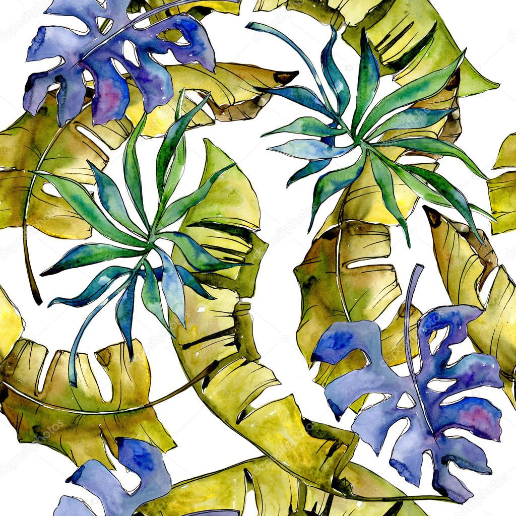 Tropics leaves pattern in a watercolor style.