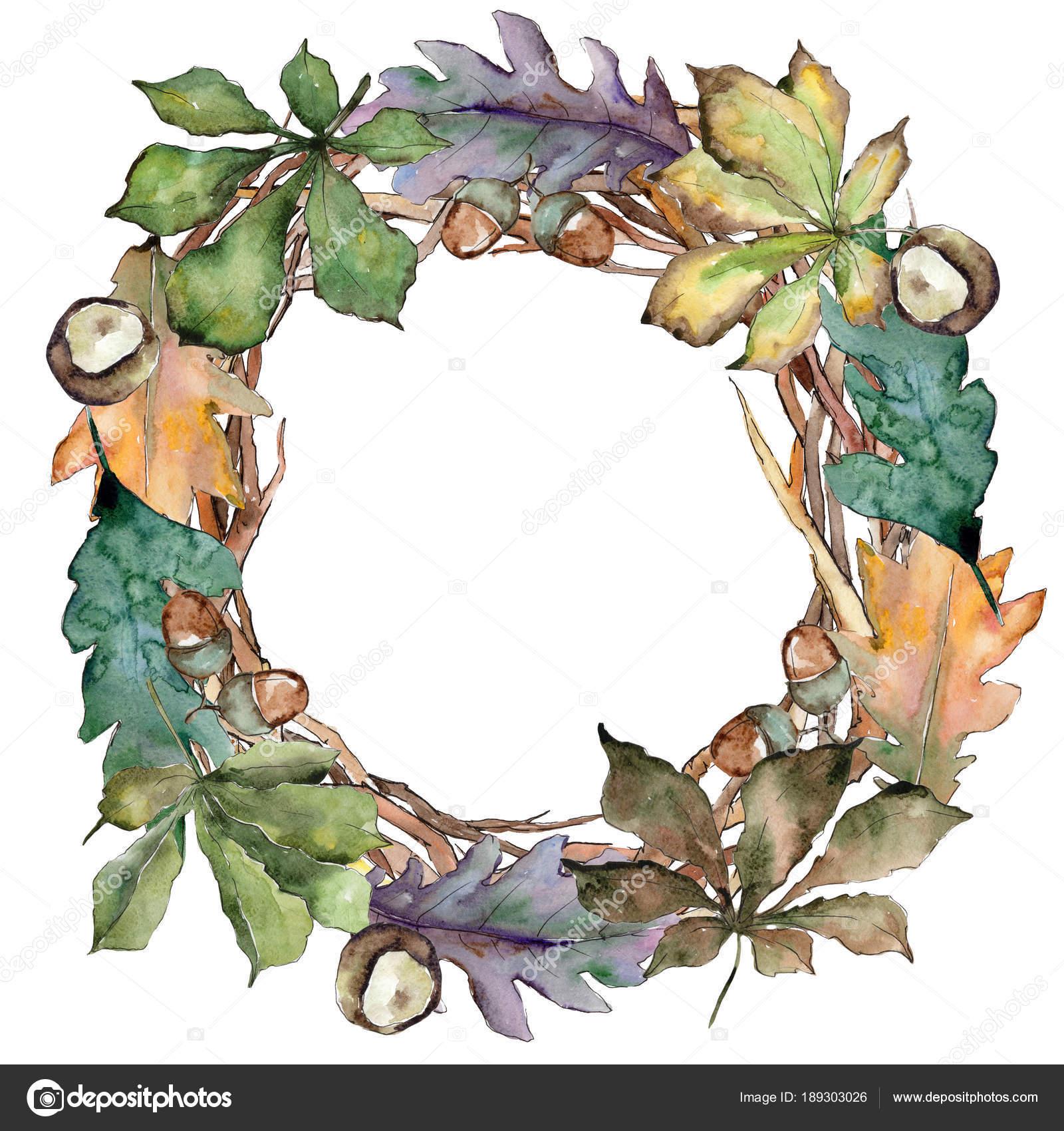 oak leaves wreath in a watercolor style stock photo mystocks